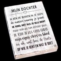 """thumb-Houten Tekstplank / Tekstbord 25X18cm """"Mijn dochter...."""" - Kleur Antique White-1"""