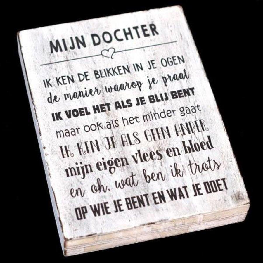 """Houten Tekstplank / Tekstbord 25X18cm """"Mijn dochter...."""" - Kleur Antique White-1"""