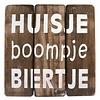 """BonTon Houten Tekstplank / Tekstbord 20cm """"Huisje Boompje Biertje"""" - Kleur Naturel"""