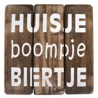 """Houten Tekstplank / Tekstbord 20cm """"Huisje Boompje Biertje"""" - Kleur Naturel"""