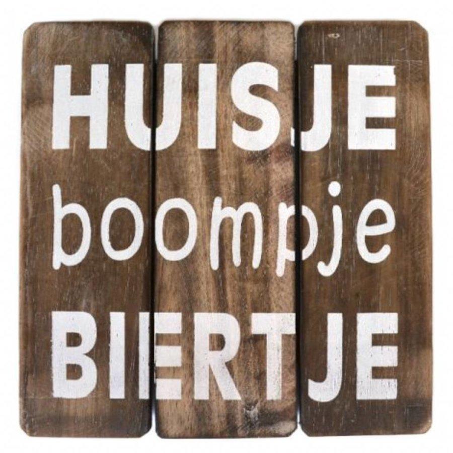 """Houten Tekstplank / Tekstbord 20cm """"Huisje Boompje Biertje"""" - Kleur Naturel-1"""