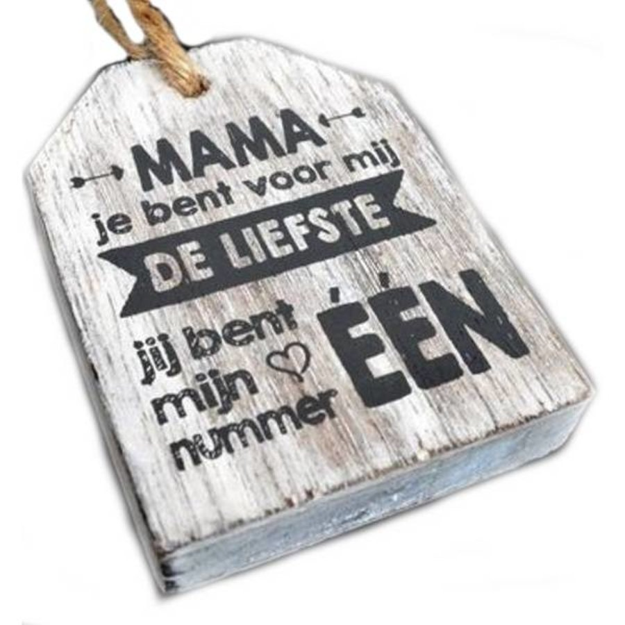 """Houten Tekstplank / Tekstbord -  9cm """"Mama je bent voor mij de liefste...."""" - Kleur Antique White-1"""