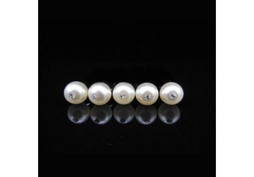 Ivoorkleurige Parel met `Diamantje - Curlies - 6 stuks