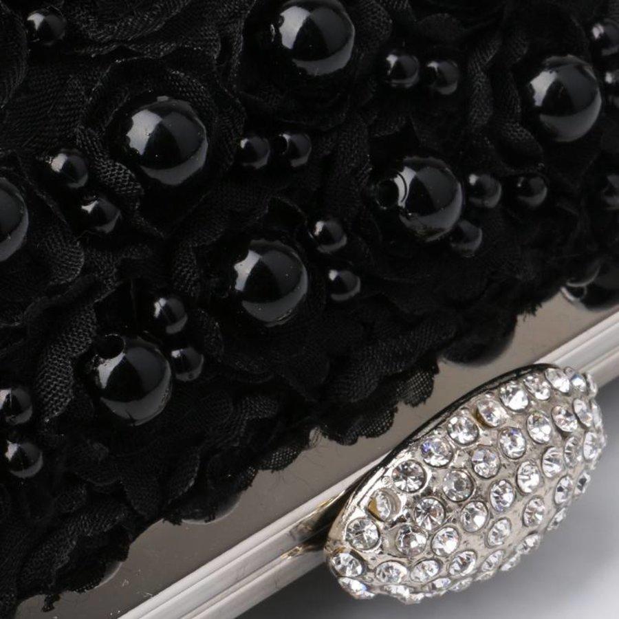 PaCaZa - Elegant Zwart Bruidstasje met Parels - Clutch-2