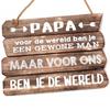 """BonTon Houten Tekstplank / Tekstbord 28x20cm """"Papa - voor de wereld ........"""" - Kleur Naturel"""