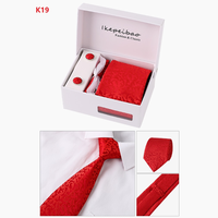 thumb-Elegante Stropdas Set in Geschenkdoos - inclusief Manchetknopen, Pochet en Dasspeld - K19- Rood-3
