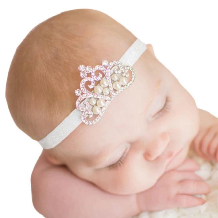 Haarband Kroontje - Newborn - Wit-1