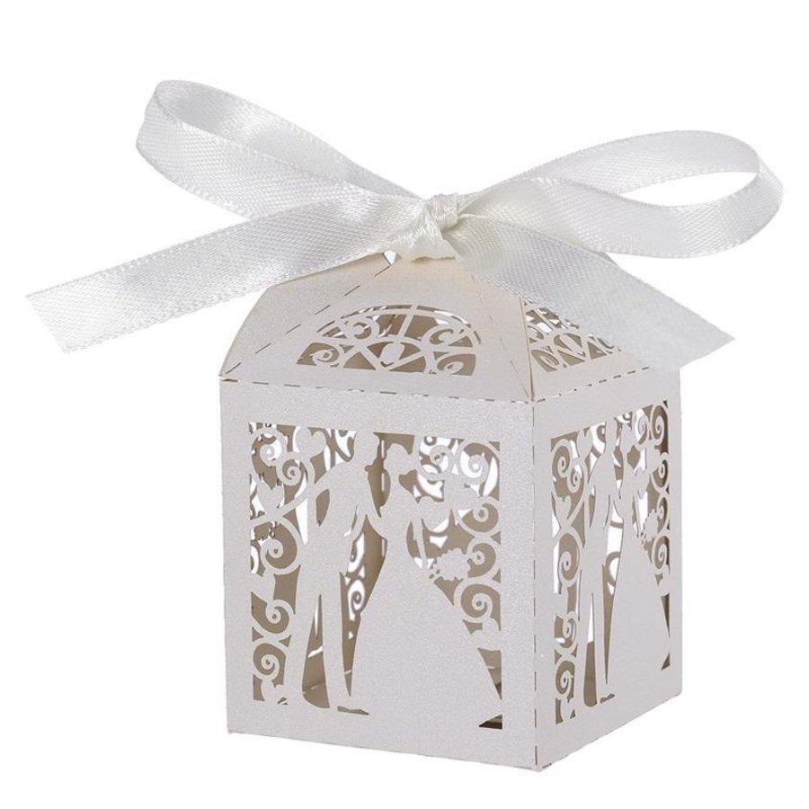 Geschenk doosjes / Cadeau doosjes - 50 stuks - Bruidspaar -  Wit-1