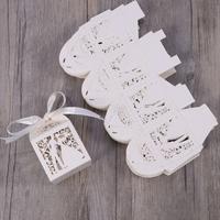 thumb-Geschenk doosjes / Cadeau doosjes - 50 stuks - Bruidspaar -  Wit-2