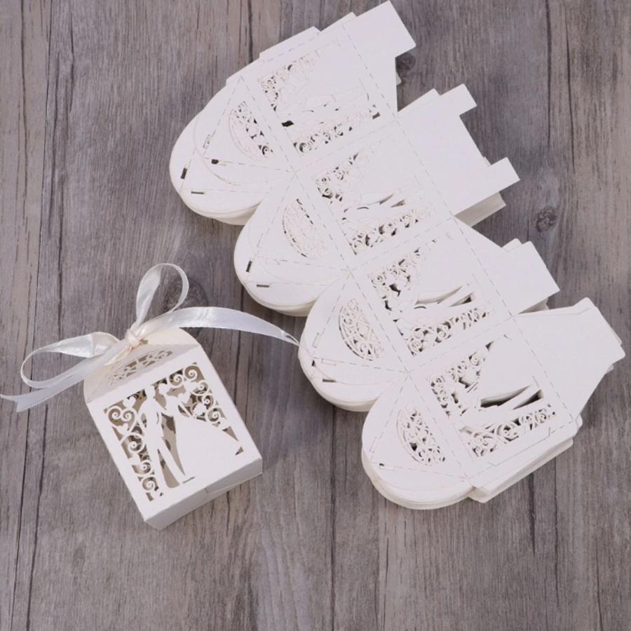 Geschenk doosjes / Cadeau doosjes - 50 stuks - Bruidspaar -  Wit-2