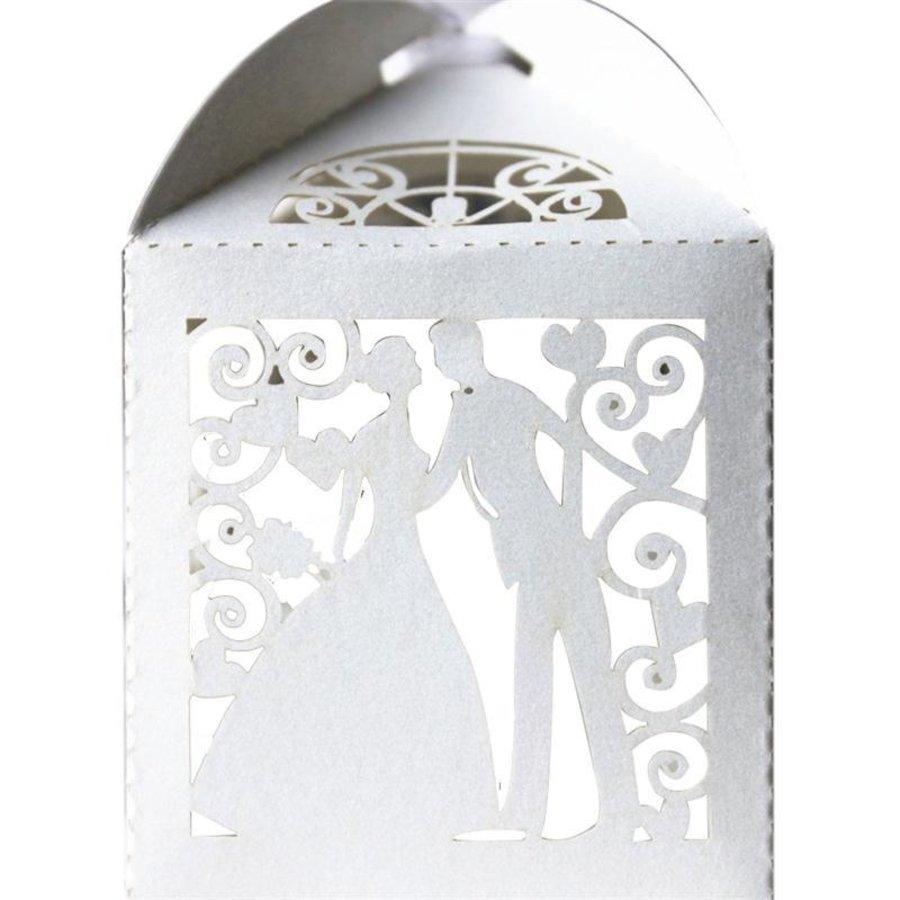 Geschenk doosjes / Cadeau doosjes - 50 stuks - Bruidspaar -  Wit-3