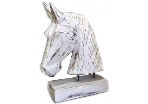 Houten Paardenhoofd 29 x 22 cm - Kleur Antique White