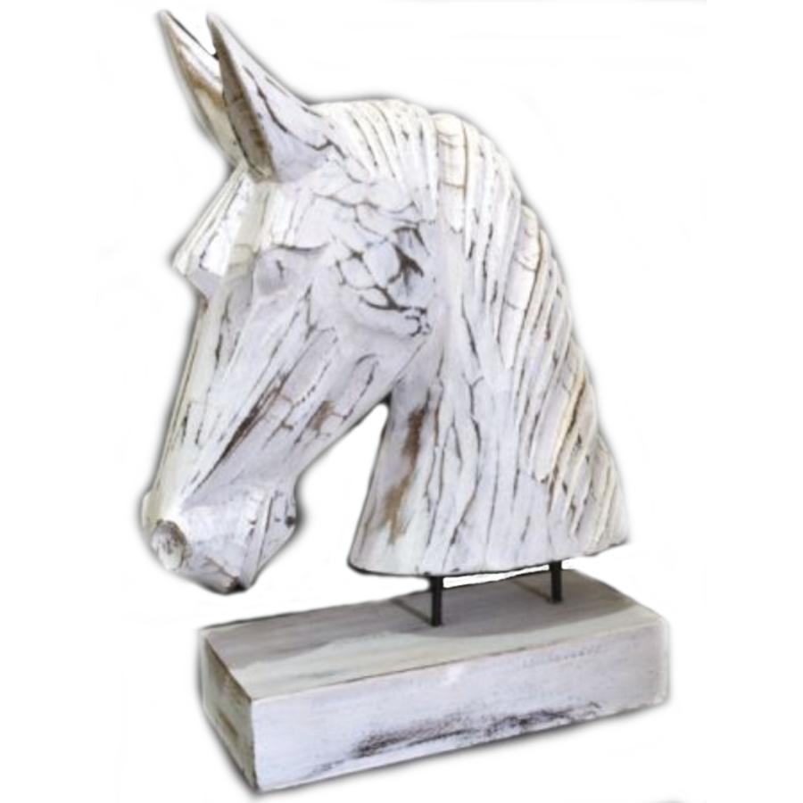 Houten Paardenhoofd 29x22cm - Kleur Antique White-1