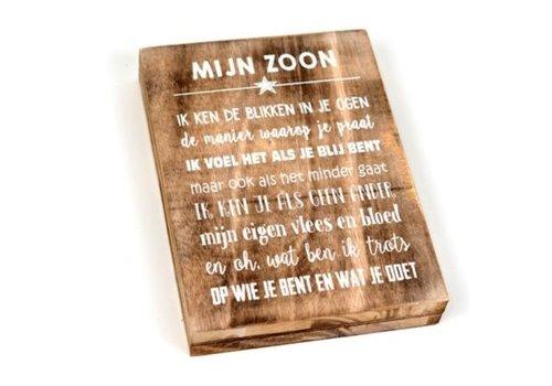"""Houten Tekstplank / Tekstbord 25X18cm """"Mijn zoon...."""" - Kleur Naturel"""
