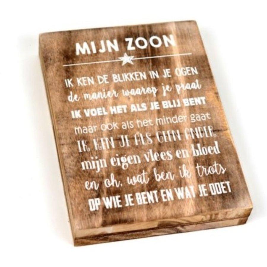 """Houten Tekstplank / Tekstbord 25X18cm """"Mijn zoon...."""" - Kleur Naturel-1"""