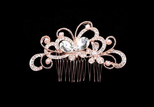 Rosékleurige Haarkam Vlinder met Diamanten en Parels