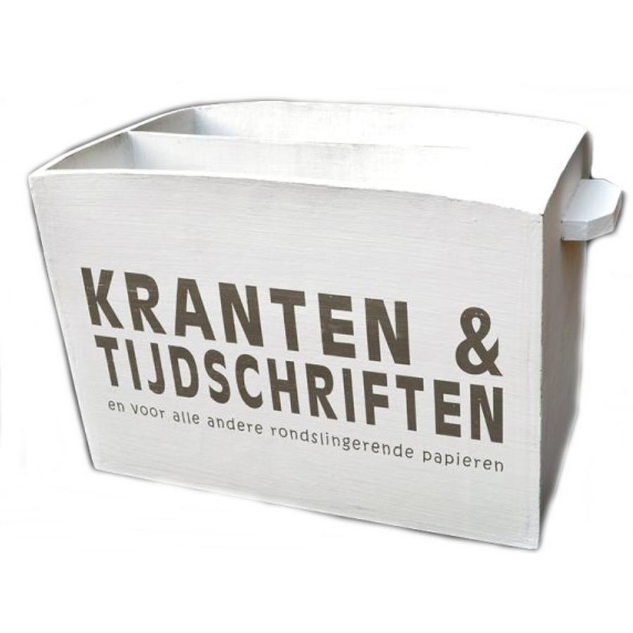 Houten Krantenbak 33,5x24cm - Kleur Antique White-1