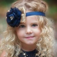 thumb-Haar Sieraad / Haarband Donker Blauwe Bloem met Goudkleurige Strik-1