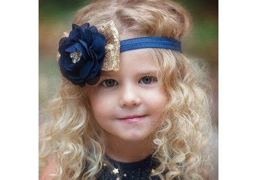 Haar Sieraad / Haarband Donker Blauwe Bloem met Goudkleurige Strik