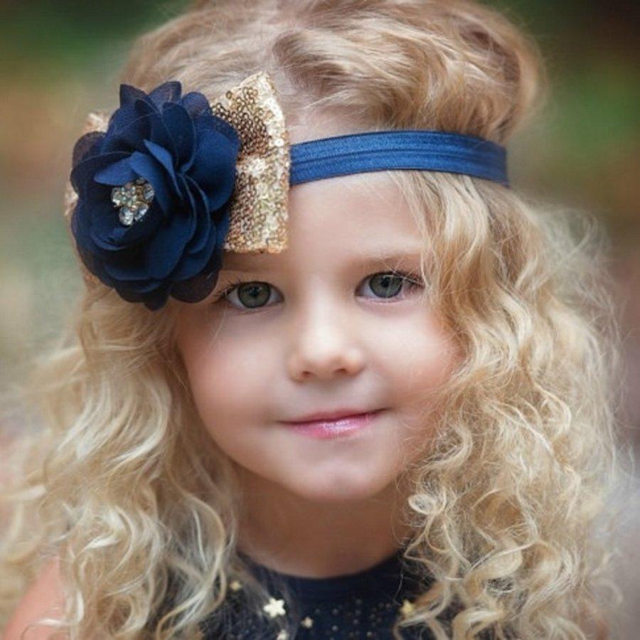 Haar Sieraad / Haarband Donker Blauwe Bloem met Goudkleurige Strik-1