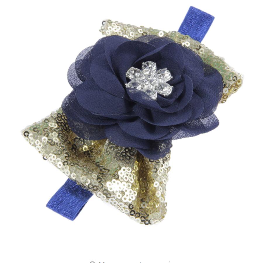Haar Sieraad / Haarband Donker Blauwe Bloem met Goudkleurige Strik-4