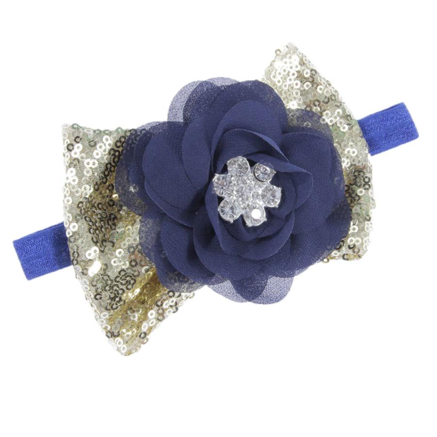 Haar Sieraad / Haarband Donker Blauwe Bloem met Goudkleurige Strik-2