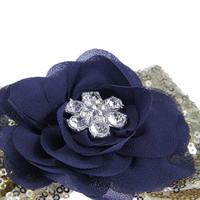 thumb-Haar Sieraad / Haarband Donker Blauwe Bloem met Goudkleurige Strik-3