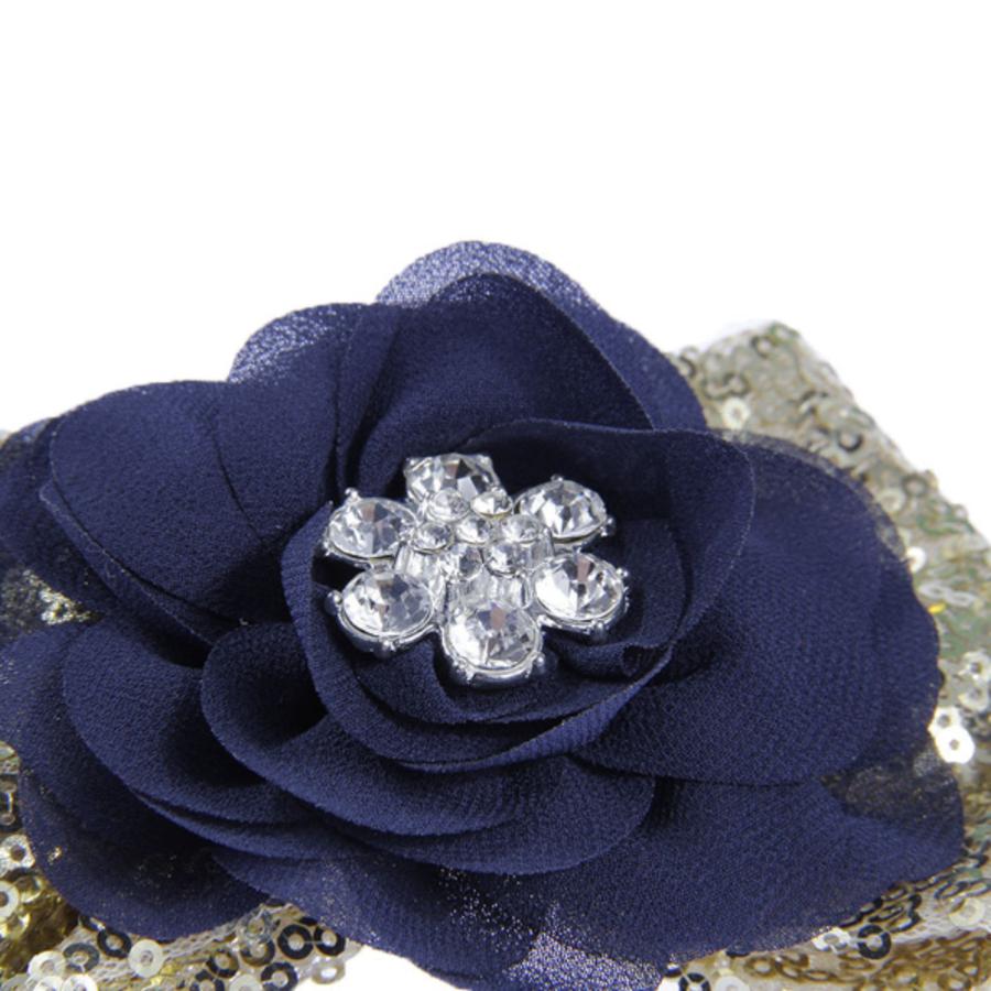 Haar Sieraad / Haarband Donker Blauwe Bloem met Goudkleurige Strik-3