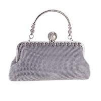 thumb-Elegant Bruidstasje - Clutch - Zilver met Fonkelende Diamanten-5