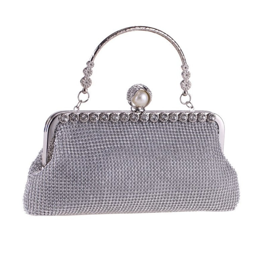 Elegant Bruidstasje - Clutch - Zilver met Fonkelende Diamanten-5