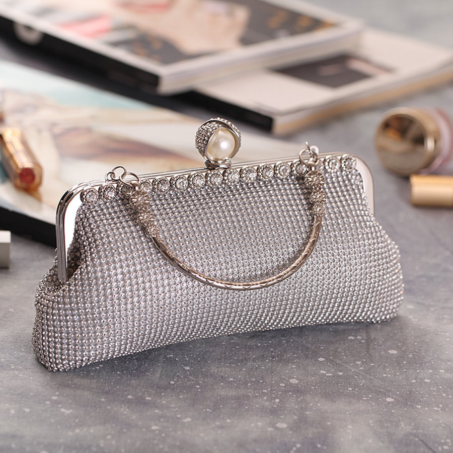 Elegant Bruidstasje - Clutch - Zilver met Fonkelende Diamanten-3