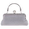 PaCaZa Elegant Bruidstasje - Clutch - Zilver met Fonkelende Diamanten