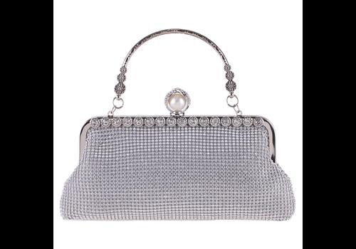 Elegant Bruidstasje - Clutch - Zilver met Fonkelende Diamanten