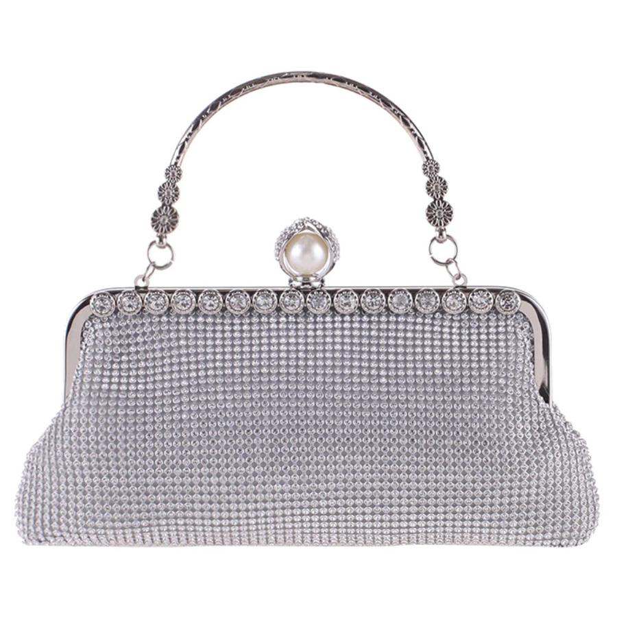 Elegant Bruidstasje - Clutch - Zilver met Fonkelende Diamanten-1