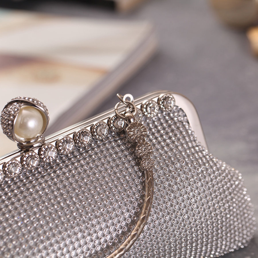 Elegant Bruidstasje - Clutch - Zilver met Fonkelende Diamanten-2
