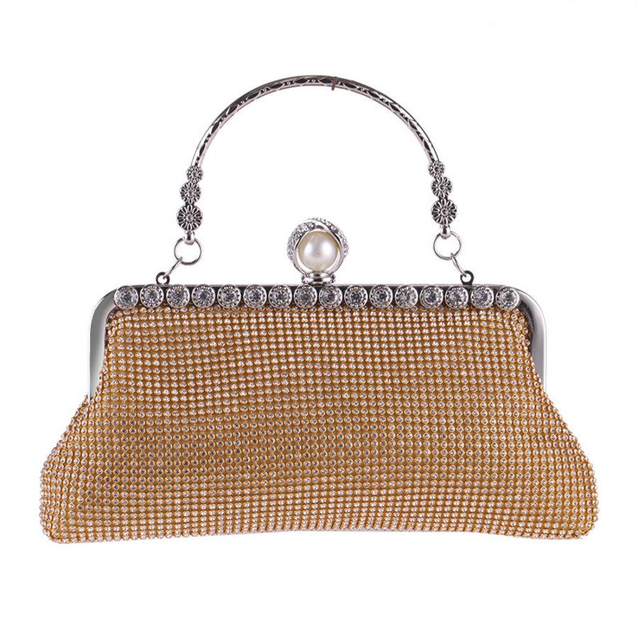 Elegant Bruidstasje - Clutch - Goud met Fonkelende Diamanten-1