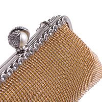thumb-Elegant Bruidstasje - Clutch - Goud met Fonkelende Diamanten-2
