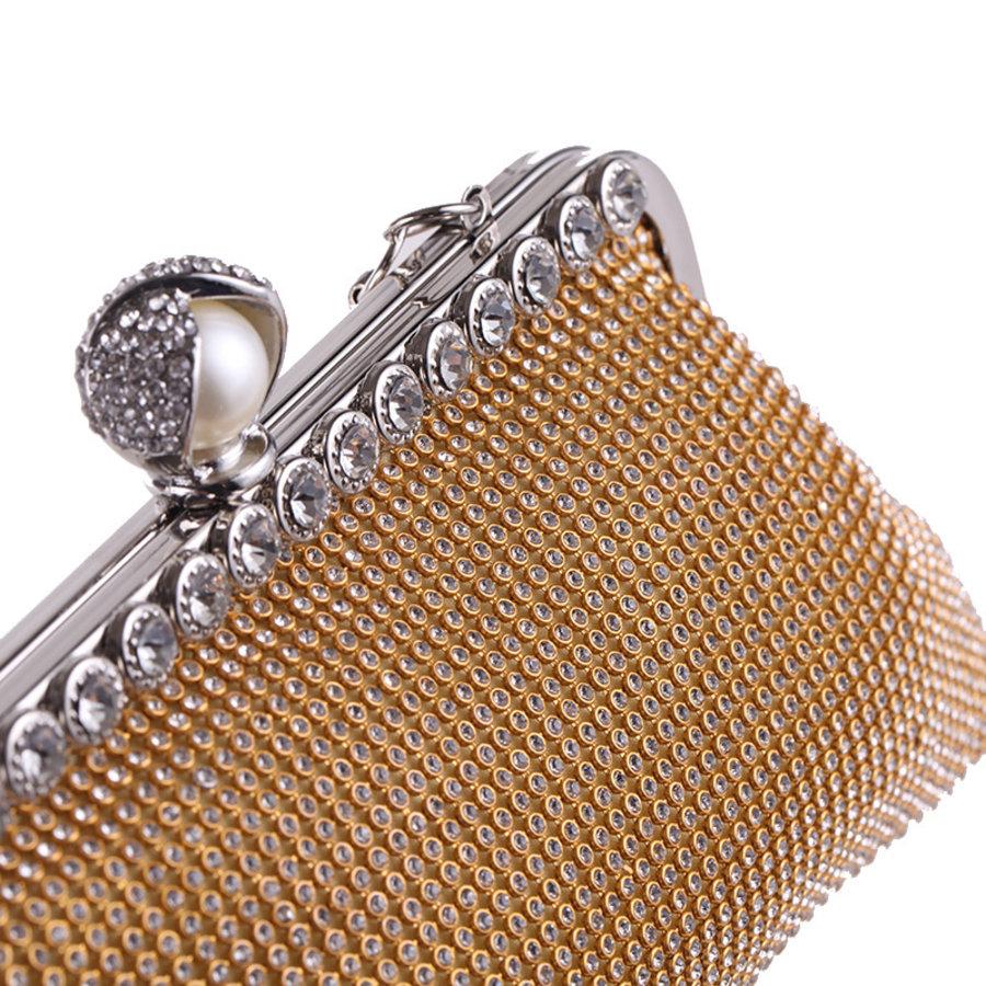 Elegant Bruidstasje - Clutch - Goud met Fonkelende Diamanten-2