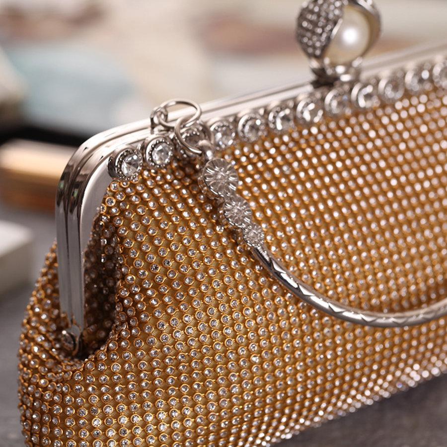 Elegant Bruidstasje - Clutch - Goud met Fonkelende Diamanten-6
