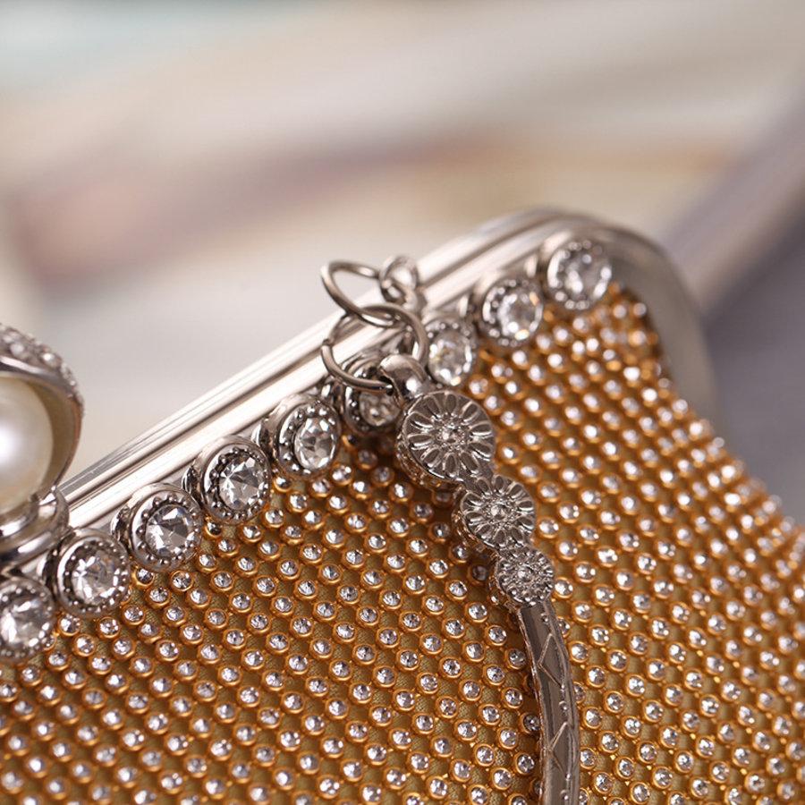 Elegant Bruidstasje - Clutch - Goud met Fonkelende Diamanten-4