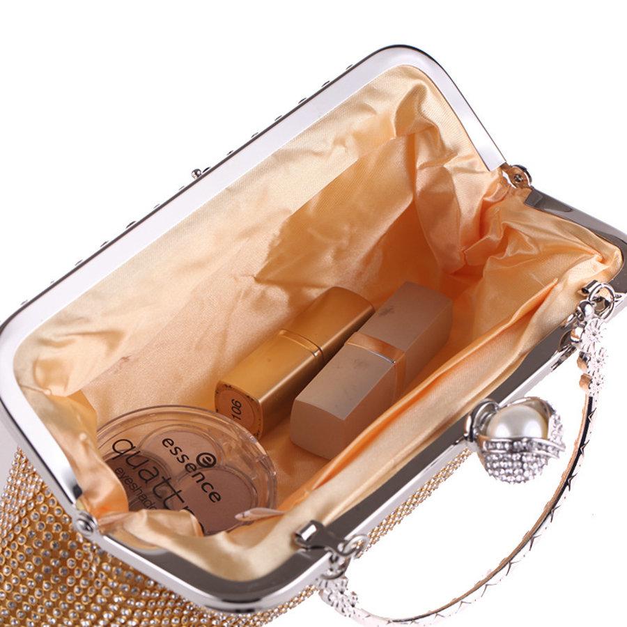 Elegant Bruidstasje - Clutch - Goud met Fonkelende Diamanten-3