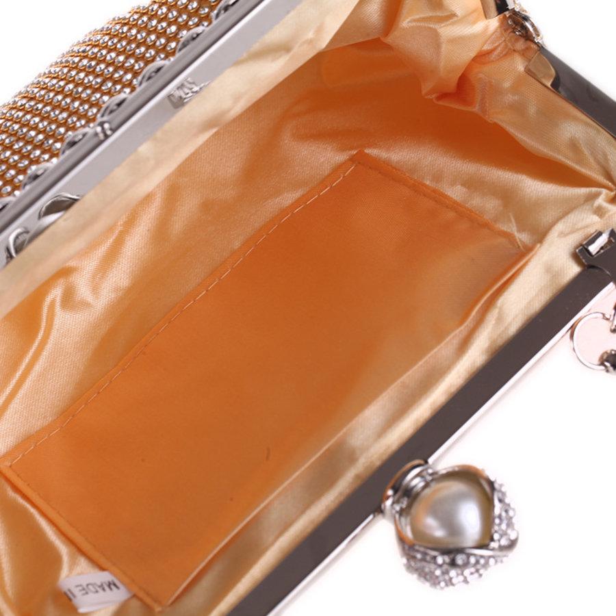 Elegant Bruidstasje - Clutch - Goud met Fonkelende Diamanten-7
