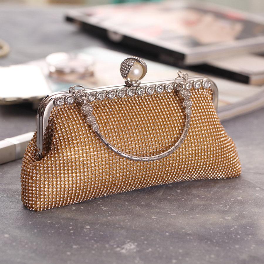 Elegant Bruidstasje - Clutch - Goud met Fonkelende Diamanten-8