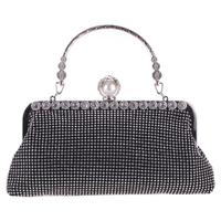 thumb-Elegant Bruidstasje - Clutch - Zwart met Fonkelende Diamanten-1