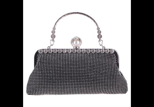 Elegant Bruidstasje - Clutch - Zwart met Fonkelende Diamanten