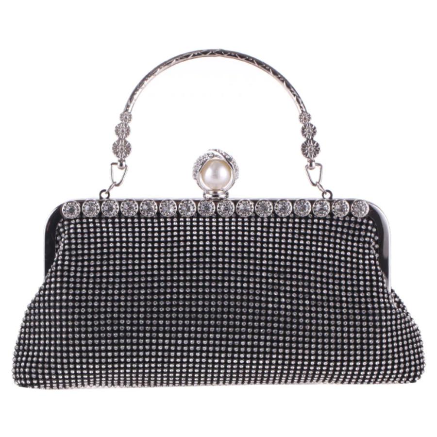 Elegant Bruidstasje - Clutch - Zwart met Fonkelende Diamanten-1
