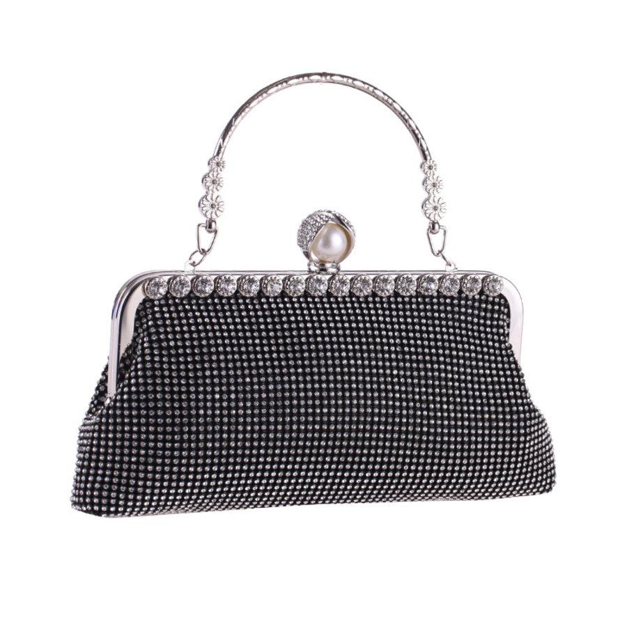 Elegant Bruidstasje - Clutch - Zwart met Fonkelende Diamanten-5
