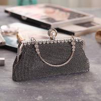 thumb-Elegant Bruidstasje - Clutch - Zwart met Fonkelende Diamanten-3