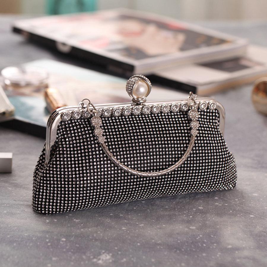 Elegant Bruidstasje - Clutch - Zwart met Fonkelende Diamanten-3