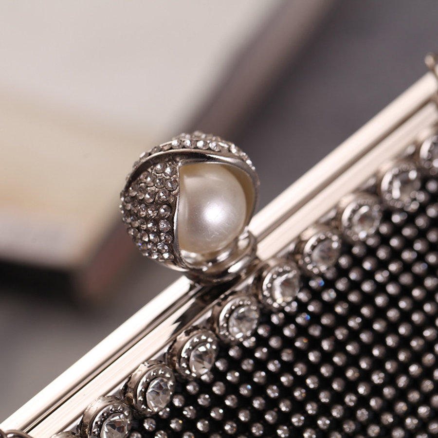 Elegant Bruidstasje - Clutch - Zwart met Fonkelende Diamanten-2